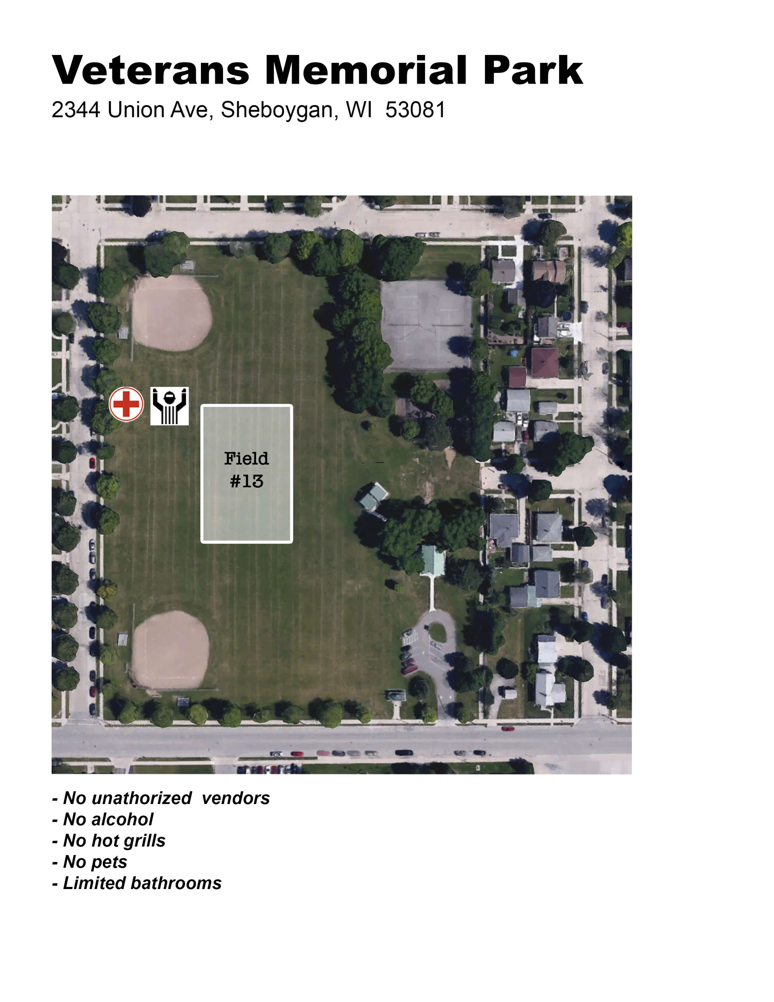 Veterans Park Field Layout